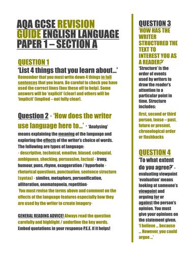 AQA GCSE English Paper    Walk through STRUCTURE question Pinterest