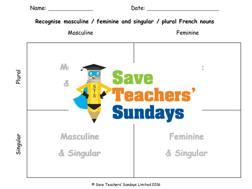 Singular / Plural & Masculine / Feminine French Lesson Plan, PowerPoint, Worksheet & Extension