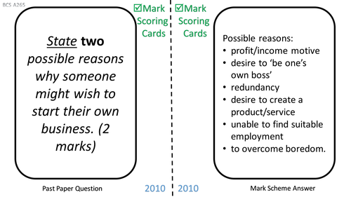 GCSE Business - Past Paper Practice with Mark Scoring Cards