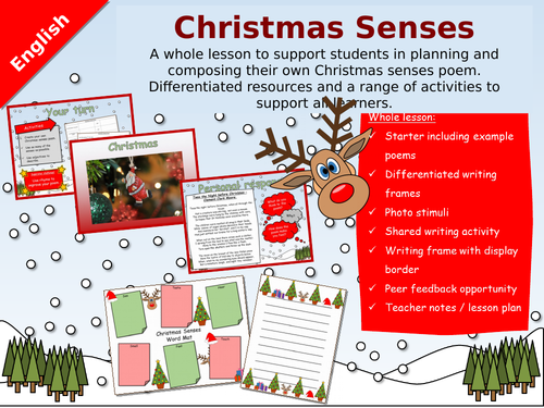 Whole English lesson - Christmas Senses Poetry