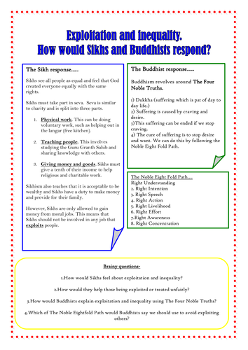 RE Info sheet with qs, Sikh and Buddhist responses to inequality
