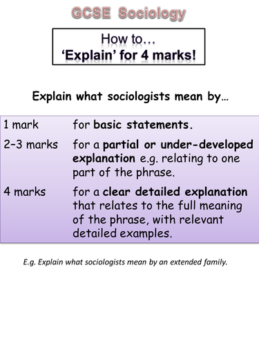 GCSE Sociology exam question help guides and student markschemes