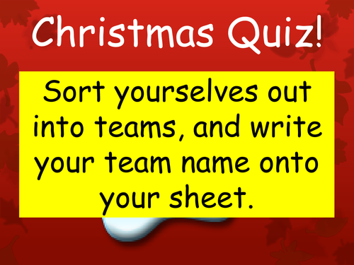 Christmas Themed Quiz (end of term)