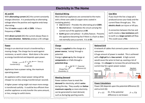 Electricity in The Home (new AQA)