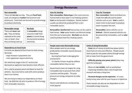 Energy Resources Revision Sheet