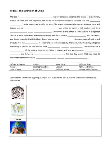 Definition Booklet  and worksheets - Crime