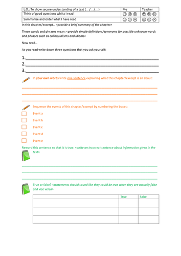 EAL reading comprehension activity structure