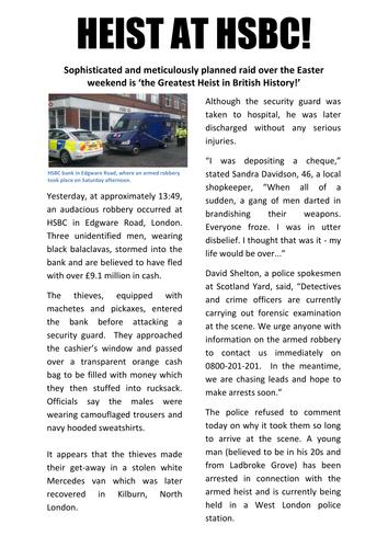 Newspaper report Bank robbery