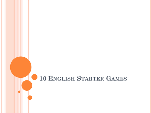 10 English starter, plenary or revision games for active learning