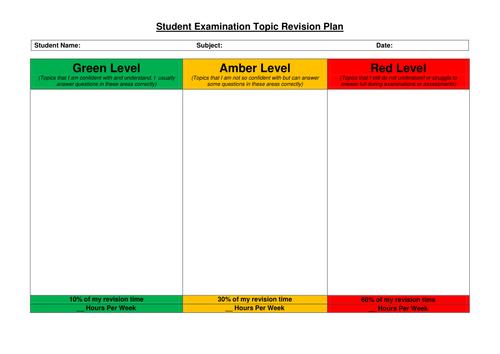 Student Examination Topic Revision Plan