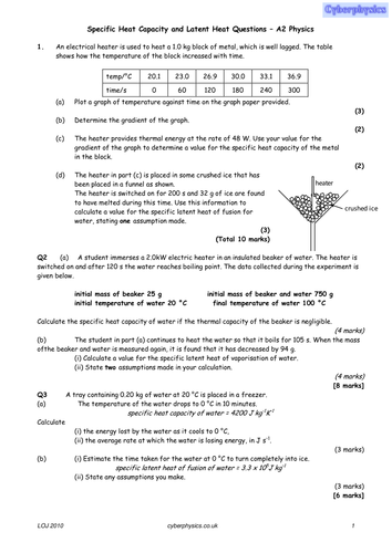 Worksheets Specific Heat Capacity Worksheet specific heat capacity by cyberphysics teaching resources tes capacity