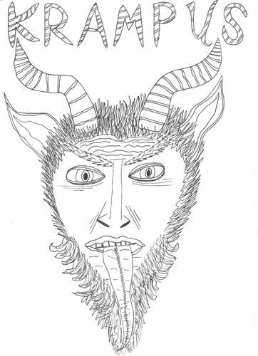 Lady Krampus Christmas Devil Winter Christmas Coloring Page   Etsy   500x362