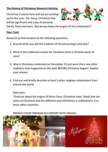 Christmas Origins.History Of Christmas Research Or Discussion Activity