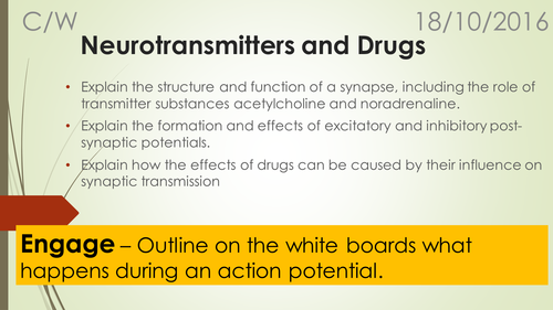 A-Level Biology B Edexcel – Topic 9 – L8 Neurotransmitters and drugs