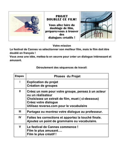 French dialogue movie project