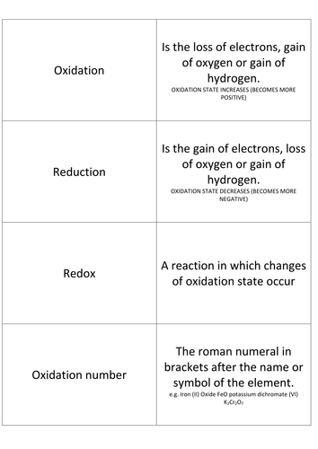 Basics Redox part 3 Flashcards