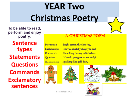Poetry Year 2 Christmas unit