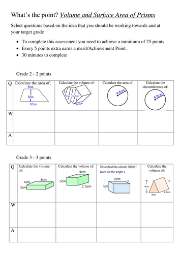 volume and surface area of prisms topic review worksheet answers by jamesclegg teaching. Black Bedroom Furniture Sets. Home Design Ideas