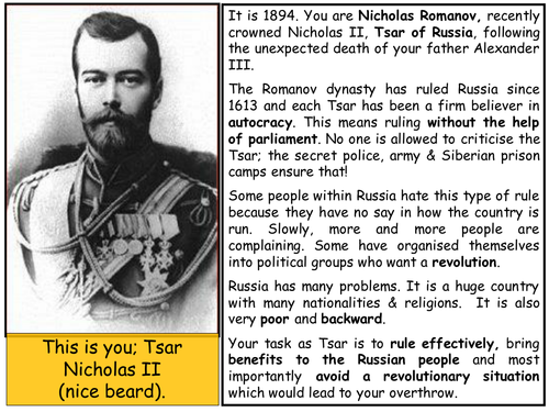 Be Tsar Nicholas II - what would you have done in his position?