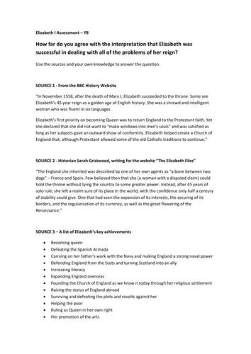 Elizabeth I interpretations assessment