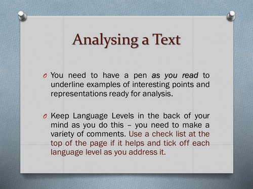 Meanings and Representations: How to Analyse a Text