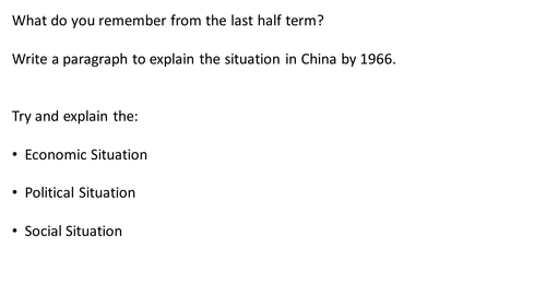*Full Lesson* Mao's China: Aims of the Cultural Revolution (Edexcel A-Level History)