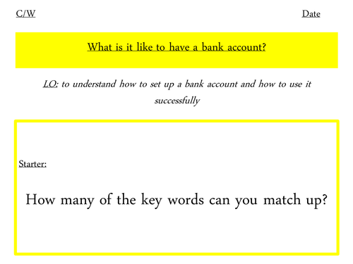 Different bank accounts