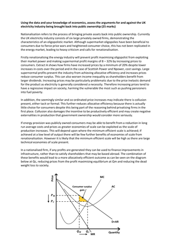 Model Answer - AQA Unit 3 June 2015 - Nationalising the UK Electricity Industry