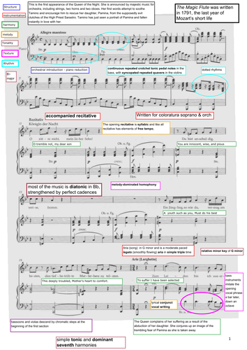 Mozart - The Magic Flute - EDEXCEL A level annotated and translated score