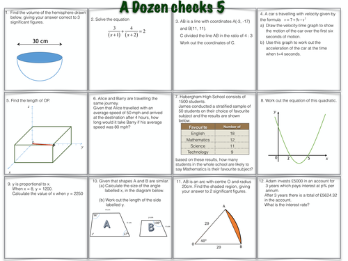 A Dozen GCSE Maths Questions worksheets 5 & 6