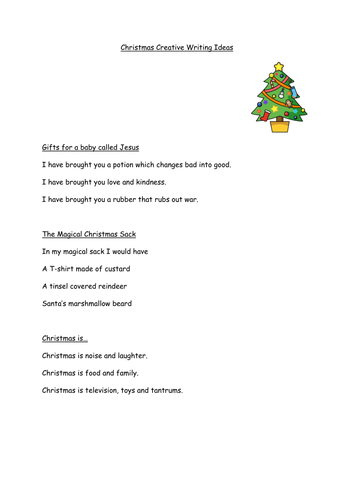 Christmas Creative Writing Ideas