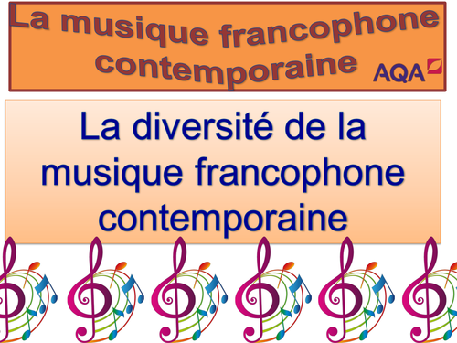 Diversité de la musique francophone contemporaine / French / Français / AS Level / New 2016