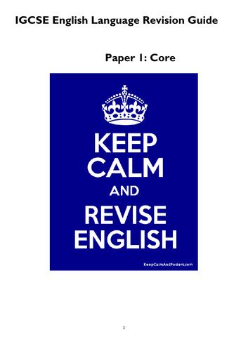 IGCSE English Language Revision Guide Paper 1 +2- Cambridge