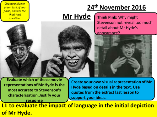 Dr Jekyll and Mr Hyde - AQA Literature - Chapter 2 - Mr Hyde Characterisation Lesson