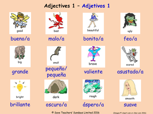 Adjectives in Spanish Posters (18 Spanish adjectives ...