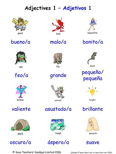 Adjectives in Spanish Word Searches (18 Spanish adjectives ...