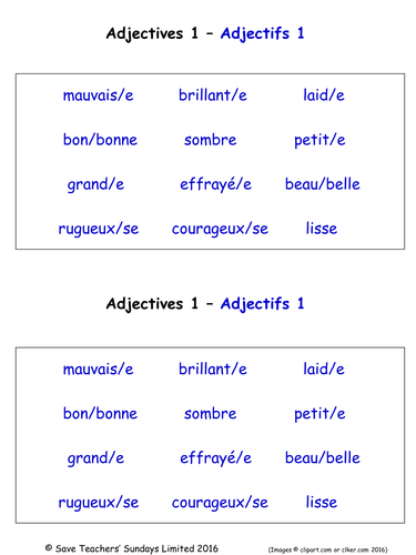 adjectives in french worksheets 18 french adjectives. Black Bedroom Furniture Sets. Home Design Ideas