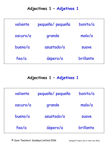 Preschool Spanish Resources Adjectives And Adverbs