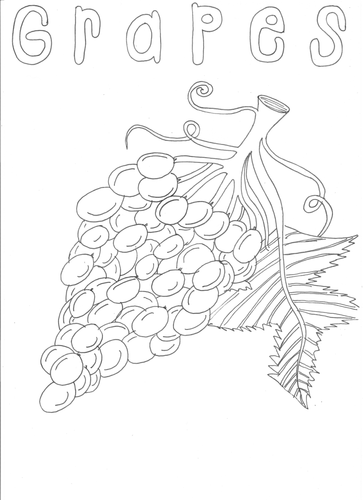Fruit: Grapes Colouring Page