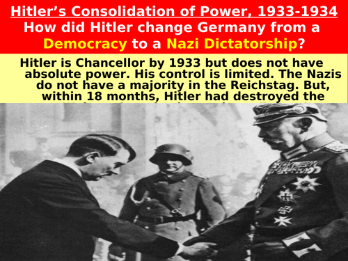 consolidation of power in nazi germany essay Account for the initial consolidation of nazi power in 1933 – 1934 (essay) this student studied: hsc - year 12 - modern history nazi germany 1933 -1934 hitler's ambitions.