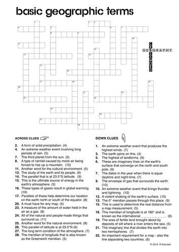 geography crossword 1 basic geographic terms by swintrek teaching resources tes. Black Bedroom Furniture Sets. Home Design Ideas