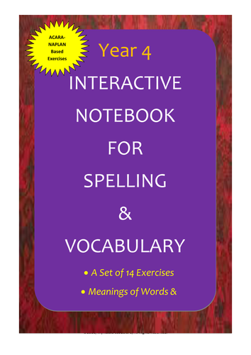 acara year 4 interactive notebook for spelling vocabulary by myresourcesgalore teaching. Black Bedroom Furniture Sets. Home Design Ideas