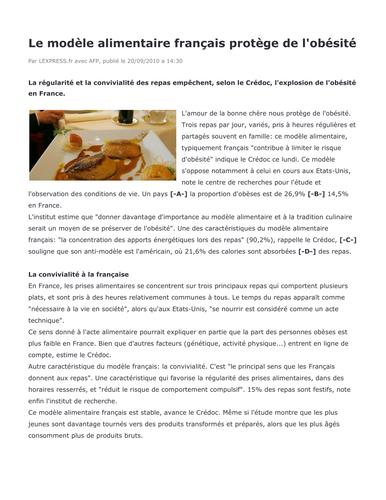 Reading comprehension (IB French B): Le modèle alimentaire français protège de l'obésité