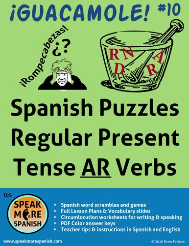 """Spanish Puzzles for Regular Present Tense """"AR"""" Verbs. Juegos de los Verbos Regulares con """"AR"""""""