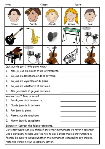 Musical instruments - Reading