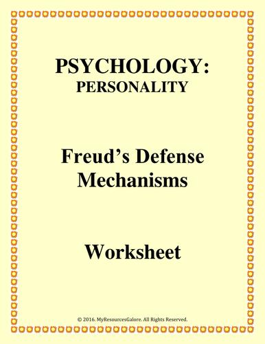 psychology defense mechanisms worksheet by myresourcesgalore teaching resources tes. Black Bedroom Furniture Sets. Home Design Ideas