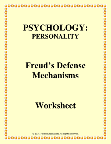 Psychology Defense Mechanisms Worksheet Teaching Resources