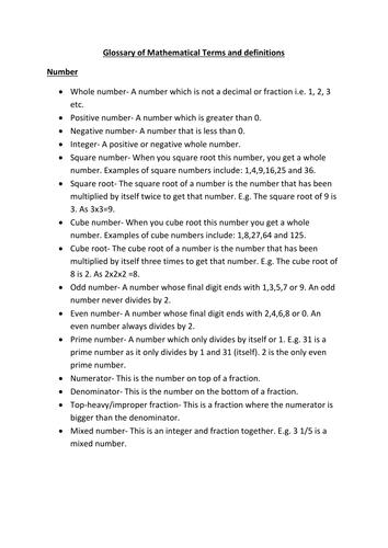 KS3/KS4 (Foundation) Glossary of Mathematical Terms