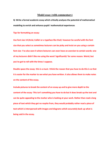 1st Class Essay Example