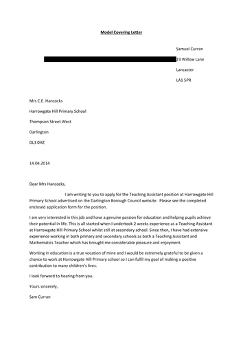 Example Application Letter for Teaching Role and Interview